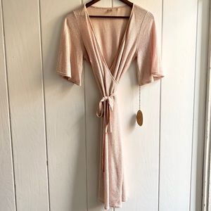 NWT Only Hearts Wrap Dress in Metallic Sand